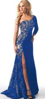 Платье в пол на одно плечо и с разрезом Цвет: СИНИЙ