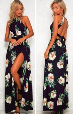 Платье-макси с цветочным принтом без рукавов и открытой спиной Цвет: ТЕМНО-СИНИЙ