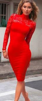 Комбинированное платье-миди с длинными рукавами Цвет: КРАСНЫЙ