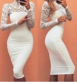 Комбинированное платье-миди с длинными рукавами Цвет: БЕЛЫЙ