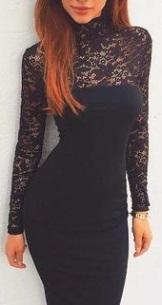 Комбинированное платье-миди с длинными рукавами Цвет: ЧЕРНЫЙ