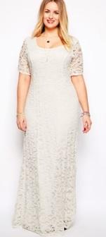 Кружевное платье-макси с короткими рукавами Цвет: БЕЛЫЙ