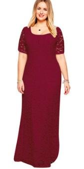 Кружевное платье-макси с короткими рукавами Цвет: БОРДО