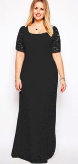 Кружевное платье-макси с короткими рукавами Цвет: ЧЕРНЫЙ