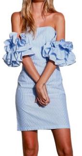 Платье с открытыми плечами и короткими рукавами-воланами Цвет: СВЕТЛО-СИНИЙ