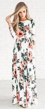 Платье-макси с цветочным принтом и длинными рукавами Цвет: БЕЛЫЙ