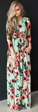 Платье-макси с цветочным принтом и длинными рукавами Цвет: ЗЕЛЕНЫЙ
