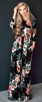 Платье-макси с цветочным принтом и длинными рукавами Цвет: ЧЕРНЫЙ