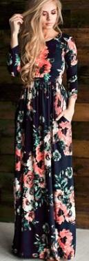 Платье-макси с цветочным принтом и длинными рукавами Цвет: ТЕМНО-СИНИЙ