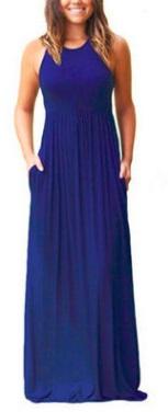 Однотонное платье-макси без рукавов Цвет: СИНИЙ