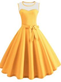Платье в ретро стиле без рукавов Цвет: ЖЕЛТЫЙ