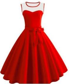 Платье в ретро стиле без рукавов Цвет: КРАСНЫЙ