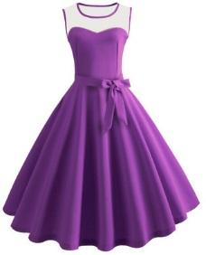 Платье в ретро стиле без рукавов Цвет: ФИОЛЕТОВЫЙ