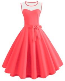Платье в ретро стиле без рукавов Цвет: СВЕТЛО-КРАСНЫЙ