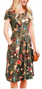 Платье с резинкой на талии и короткими рукавами Цвет: ЗЕЛЕНЫЙ