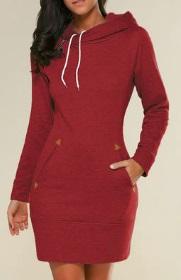 Платье-толстовка с капюшоном Цвет: КРАСНЫЙ