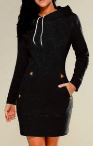 Платье-толстовка с капюшоном Цвет: ЧЕРНЫЙ