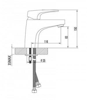 """LM4306C """"Шифт"""" Смеситель для умывальника монолитный, хром"""