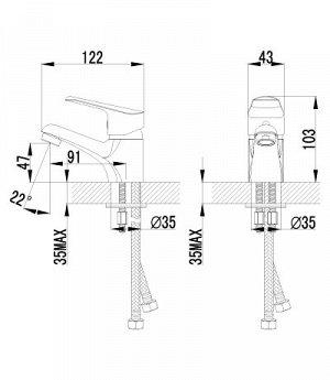 """LM6556C """"Партнер"""" Смеситель для умывальника одноручный, монолитный, хром"""
