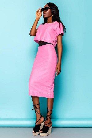 Трикотажный костюм розового цвета