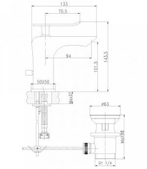 """LM5806CW """"Контест"""" Смеситель для умывальника монолитный, хром/белый"""