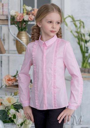 Блузка Состав: 45% хлопок. 35% полиамид, 20% полиэстер Школьная блузка для девочки из смесового хлопка.Длинный рукав блузки  и полочка дополнены декоративными вставками в виде при собранного рюша .Блу