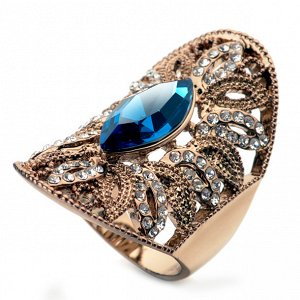 Кольцо Позолоченное розовым золотом 750 пробы (18K Gold Plated) кольцо c супер блестящими прозрачными и большим синим австрийскими кристаллами Swarovski Stellux! Размер 35 * 20 мм. Цвет Российского зо