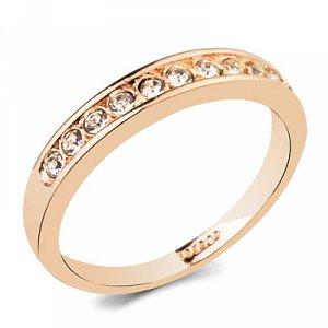 Кольцо Позолоченное розовым золотом 750 пробы (18K Gold Plated) кольцо c супер блестящими прозрачными австрийскими кристаллами Swarovski Stellux!