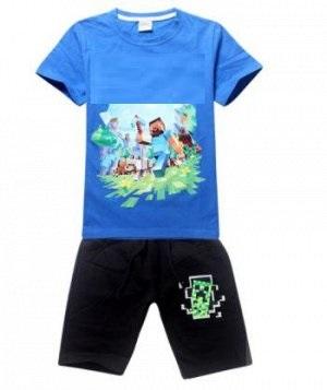 Костюм с футболкой и шортами синий