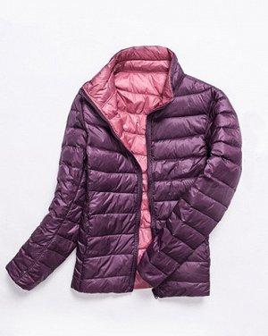 куртка женская ДВУХСТОРОННЯЯ, цвет розовый/фиолетовый