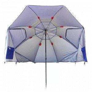 Зонт Огромный пляжный зонт - палатка. Размер 240 см + боковые стенки. В комплекте чехол с ручкой. Вес зонта 3,5 кг Можно использовать как обычный зонт от солнца или поставив на бок сделать из него про