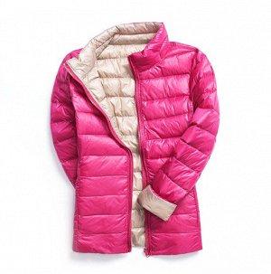 куртка женская ДВУХСТОРОННЯЯ, цвет розовый/бежевый