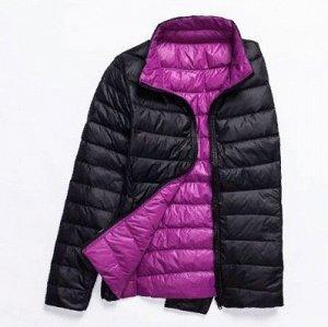 куртка женская ДВУХСТОРОННЯЯ, цвет черный/фиолетовый