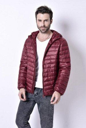 ультралегкая мужская куртка с капюшоном, цвет бордовый