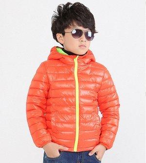 Ультралегкая детская куртка с капюшоном, цвет оранжевый/салатовый