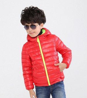 Ультралегкая детская куртка с капюшоном, цвет красный/салатовый