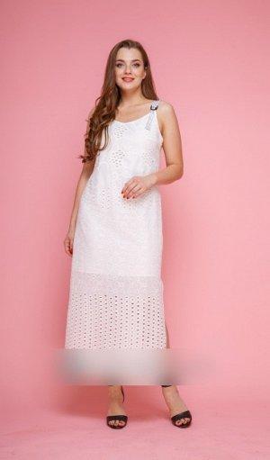 """Сарафан Хлопок-100% Рост: 164 см. Платье-сарафан прямого силуэта, до косточек из хлопчатобумажной текстильной ткани """" ришелье"""" белого цвета, на подкладке. По переду- нагрудные вытачки из бокового шва."""