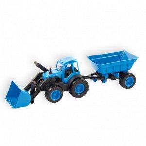 Трактор с ковшом и прицепом в коробке 15-10173