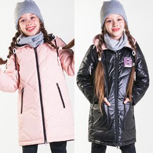 Пальто двухсторонее для девочки, р.140