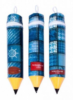 """Пенал-""""карандаш"""" пластиковый ДЖИНС d=5 см"""