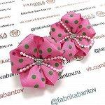 Детский бантик Волнушка розовый с зеленым горохом