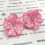 Детский бантик НА ЗАЖИМЕ  Волнушка розовый с белым горохом