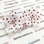 Детский бантик Волнушка белый с красным горохом
