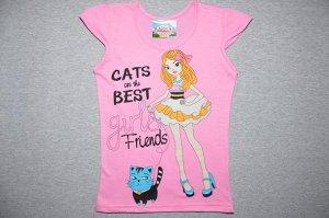 Футболка  Девочка с котом / розовая.
