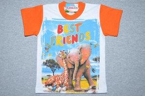 Футболка Лучшие друзья /оранжевый рукав