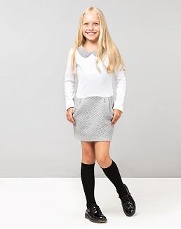 Платье (белый верх, серый низ)