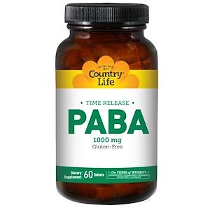Country Life, Пара-аминобензойная кислота (ПАБК) с замедленным высвобождением, 1000 мг, 60 таблеток
