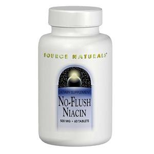 Source Naturals, Ниацин, не вызывает приливов крови, 500 мг, 60 таблеток