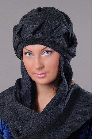 Модная вязанная шапочка с шарфом