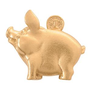 Кошельковая свинка с монеткой, цвет золото (в упаковке) 10 штук